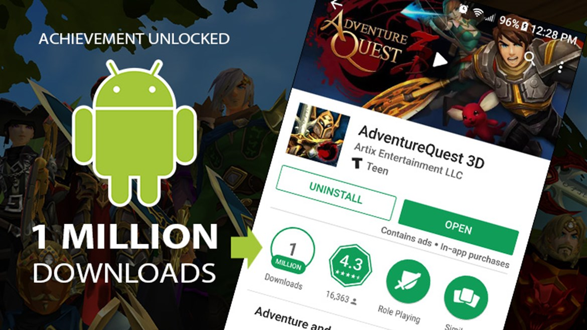 1 Million Downloads on Android - Adventure Quest 3D, Cross