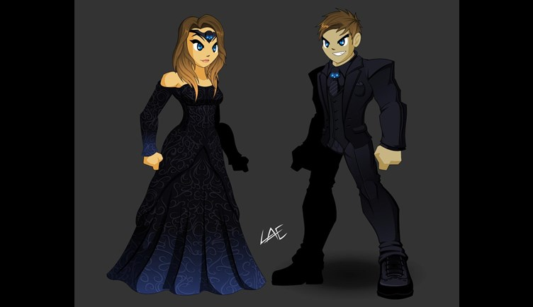 Dage wedding dress and suit in AdventureQuest Worlds