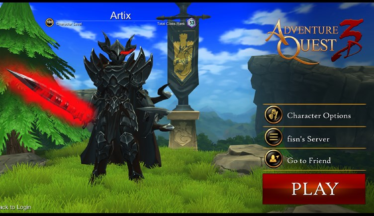 New AdventureQuest 3D Character Selection Screen
