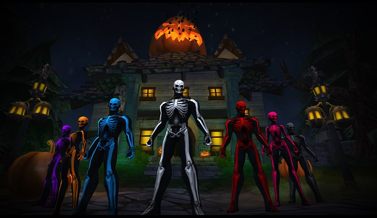 Skelesuits in front of the Haunted House