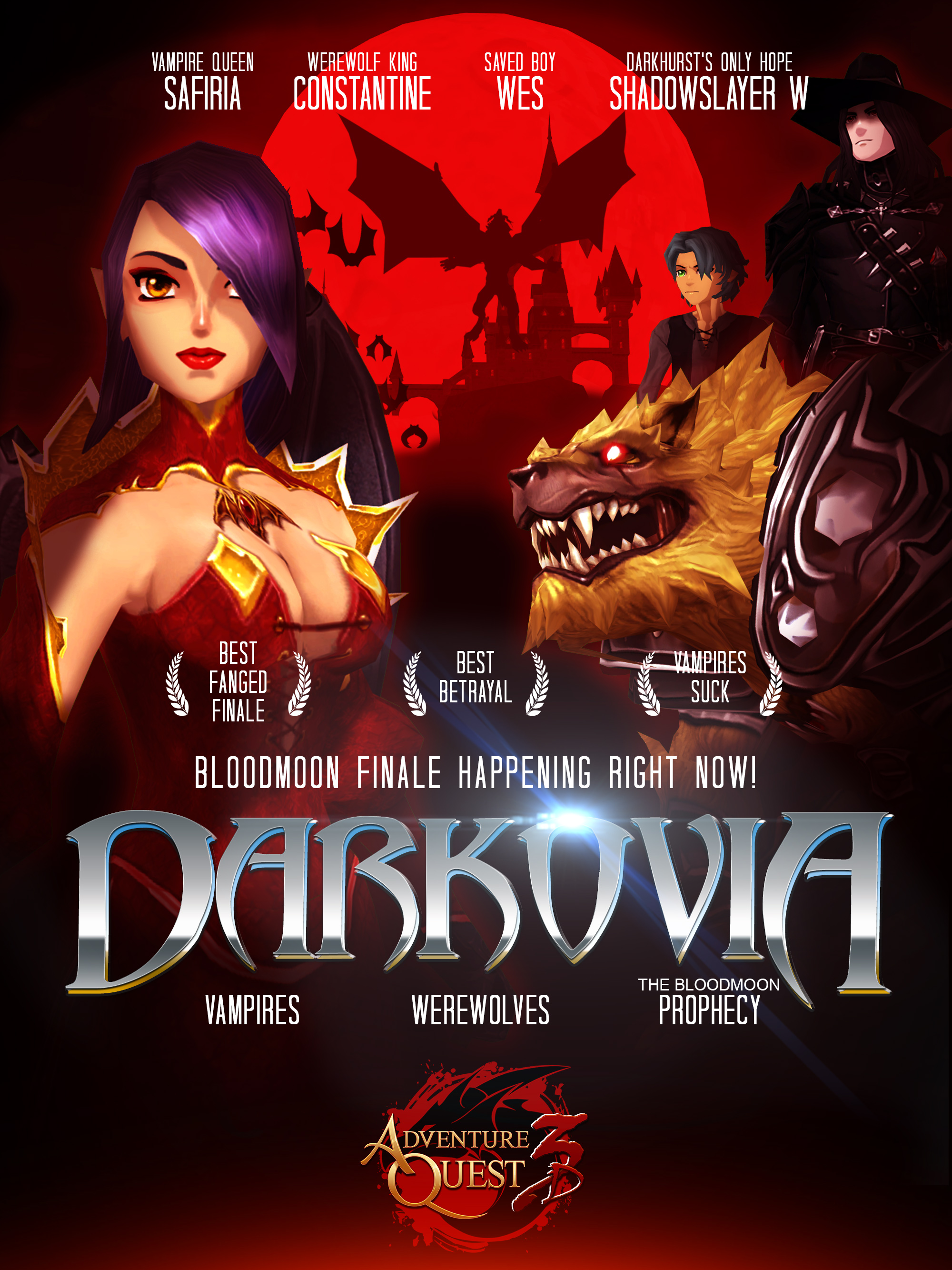 AdventureQuest 3D Darkovia Poster with Safiria and Constantine